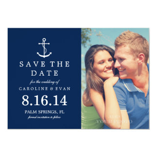 Anchor Photo Wedding Save the Date {navy blue} 5x7 Paper Invitation Card