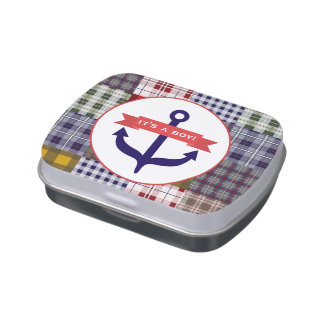 Anchor & Plaid Boy Baby Shower Jelly Belly™ Tin Candy Tins