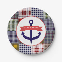 Anchor   Plaid Boy Baby Shower Paper Plate