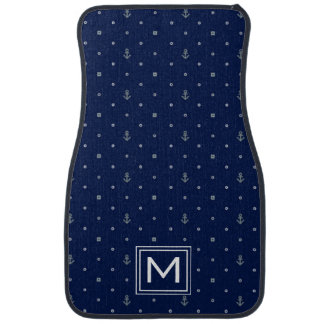 Anchor Polka Dots Pattern | Add Your Initial Car Floor Mat