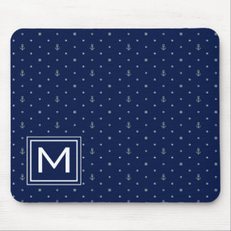 Anchor Polka Dots Pattern | Add Your Initial Mouse Pad