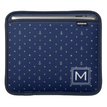 Anchor Polka Dots Pattern | Add Your Initial Sleeve For iPads