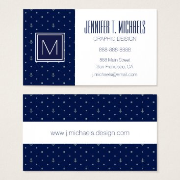 Beach Themed Anchor Polka Dots Pattern Business Card