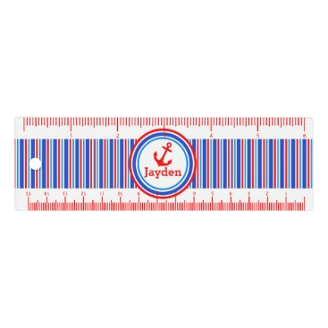 Beach Themed Anchor red and blue nautical stripe name ruler