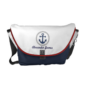 Anchor Red White and Blue Personalized Messenger Bag