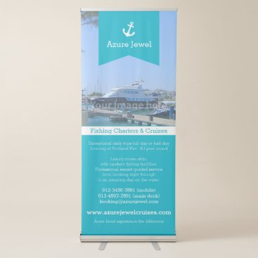 Professional Business Anchor ribbon aqua white sailing nautical business retractable banner
