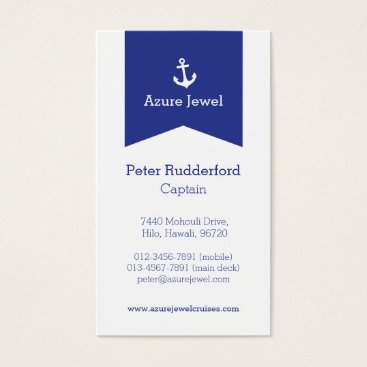Professional Business Anchor ribbon blue white sailing business card