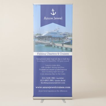 Professional Business Anchor ribbon blue white sailing nautical business retractable banner
