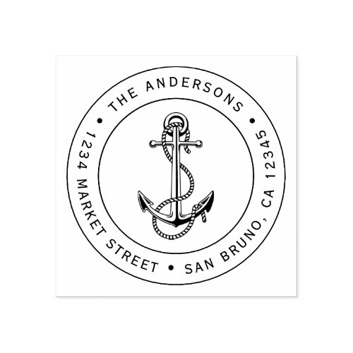 Anchor  Rope  Custom Nautical Return Address Rubber Stamp