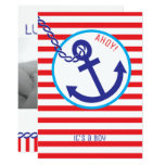 Anchor Rope Nautical Sailor Stripe Baby Invite