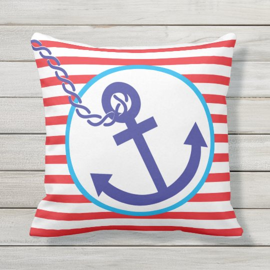 Anchor Rope Nautical Sailor Stripe Outdoor Pillow