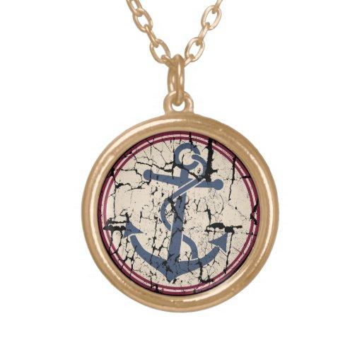 Anchor Round Pendant Necklace