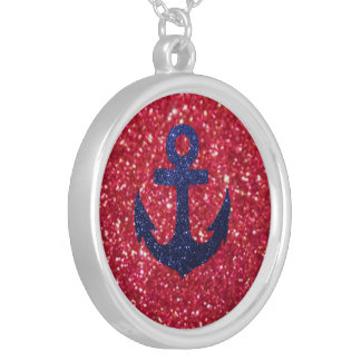 Anchor. Round Pendant Necklace