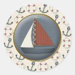 Anchor Sailboat Classic Round Sticker