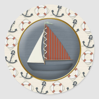 Anchor Sailboat Classic Round Sticker