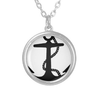 anchor sailor hook silver plated necklace