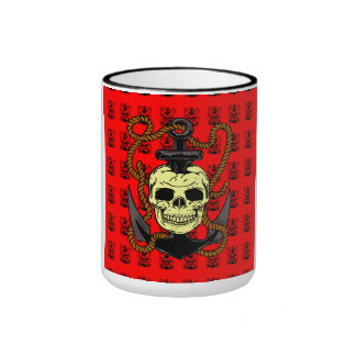 Anchor Skull Tattoo Ringer Coffee Mug