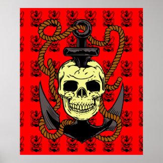 Anchor Skull Tattoo Poster