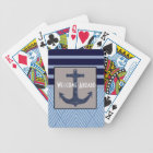 Anchor & Stripes Nautical Design Bicycle Playing Cards