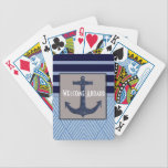 "Anchor &amp; Stripes Nautical Design Bicycle Playing Cards<br><div class=""desc"">This great image is perfect whether you are decorating a home in a nautical theme or buying items for your boat. This anchor and nautical stripes will be a welcome addition to your decor. Perfect for someone who loves sailing or boating or just loves being around water. Easy to customize...</div>"