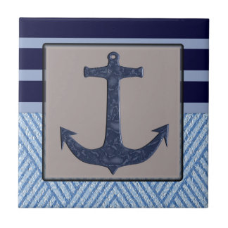 Anchor & Stripes Nautical Design Ceramic Tile