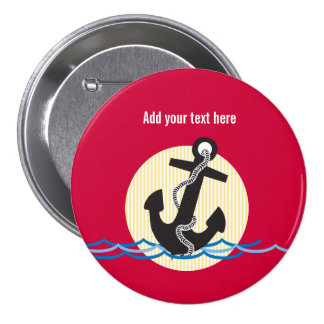 Anchor, Sun and Water Customizable 3 Inch Round Button
