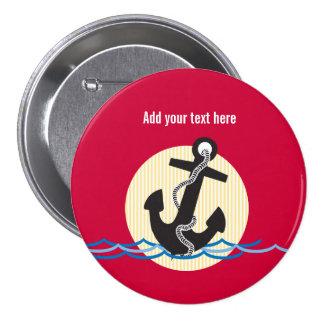 Anchor, Sun and Water Customizable Pinback Button