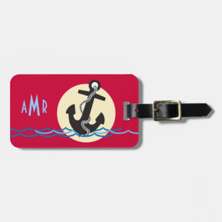 Anchor, Sun and Water Monogrammed Luggage Tag