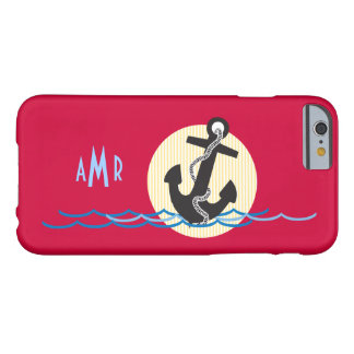 Anchor, Sun and Water Nautical Monogrammed Barely There iPhone 6 Case