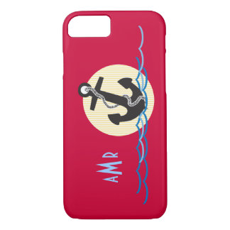 Anchor, Sun and Water Nautical Monogrammed iPhone 7 Case