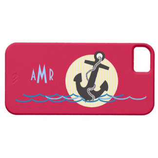 Anchor, Sun and Water Nautical Monogrammed iPhone SE/5/5s Case