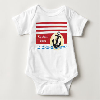 Anchor, Sun and Water Personalized Baby Bodysuit
