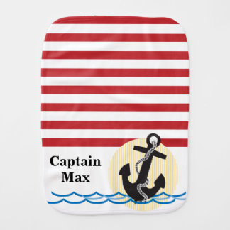 Anchor, Sun and Water Personalized Baby Burp Cloth