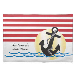 Anchor, Sun and Water Personalized Cloth Place Mat