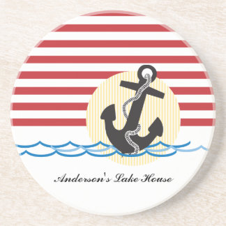 Anchor, Sun and Water Personalized Drink Coaster