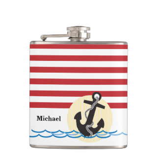 Anchor, Sun and Water Personalized Flask