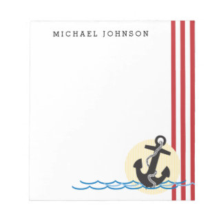 Anchor, Sun and Water Personalized Notepad