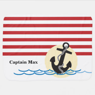 Anchor, Sun and Water Personalized Stroller Blanket
