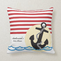Anchor, Sun and Water Personalized Throw Pillow