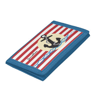 Anchor, Sun and Water Personalized Tri-fold Wallet