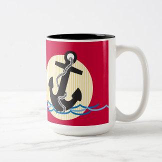 Anchor, Sun and Water Two-Tone Coffee Mug