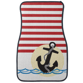 Anchor, Sun and Water with Red & White Stripes Car Mat