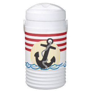 Anchor, Sun and Water with Red & White Stripes Cooler