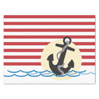 Anchor, Sun and Water with Red & White Stripes Tissue Paper