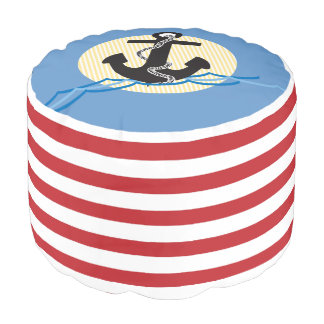 Anchor, Sun & Water, Red/White Stripes Pouf