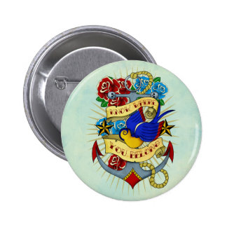 Anchor, Swallow and Roses 2 Inch Round Button