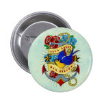 Anchor, Swallow and Roses Button