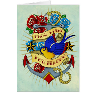 Anchor, Swallow and Roses Card