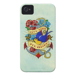 Anchor, Swallow and Roses Case-Mate iPhone 4 Cases