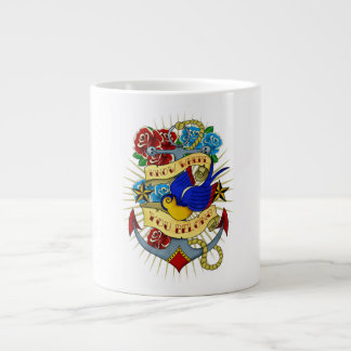 Anchor, Swallow and Roses Large Coffee Mug
